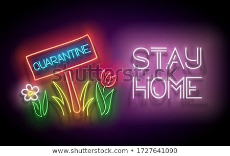 Glow Nameplate with Quarantine Inscription on Lawn Stock photo © lissantee