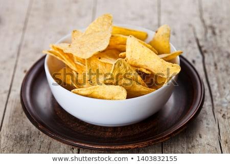Mexikói nachos sültkrumpli fehér tál barna Stock fotó © marylooo