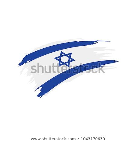 Grunge pennello Israele bandiera bianco isolato Foto d'archivio © evgeny89