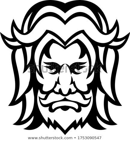 Isten elöl kilátás kabala feketefehér ikon Stock fotó © patrimonio