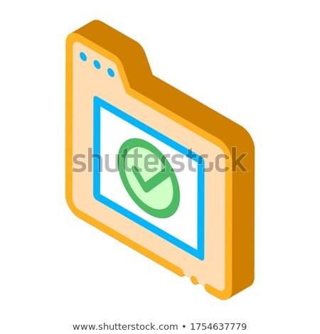 Computador dobrador aprovado isométrica ícone Foto stock © pikepicture