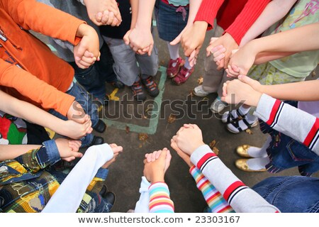 Circle from children, who are held for hands Stock photo © Paha_L
