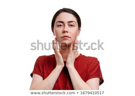 Brunette poseren handen wangen meisje gezicht Stockfoto © photography33