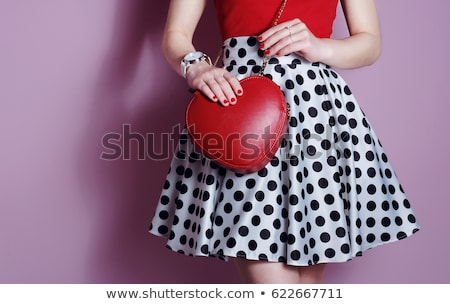 red haired woman wearing red dress with polka dots Stock photo © stryjek