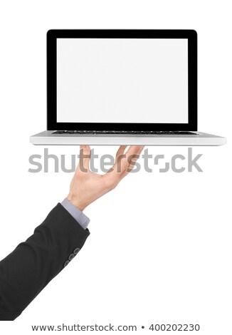 Butler Laptop Számítógéppel Stock fotó © goir