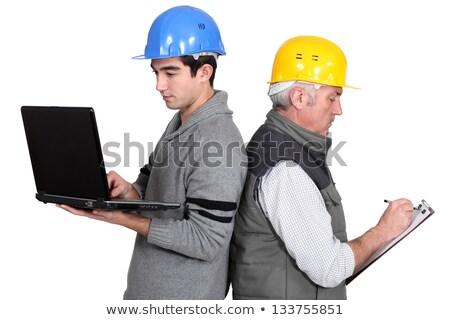 Construtor aprendiz laptop clipboard computador indústria Foto stock © photography33