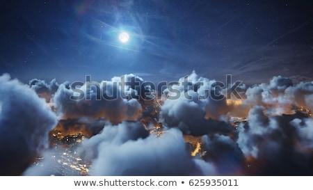 ночь полет луна звезды облака пейзаж Сток-фото © Sniperz