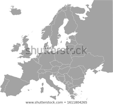 Continent Europa kaart sterren achtergrond teken Stockfoto © experimental