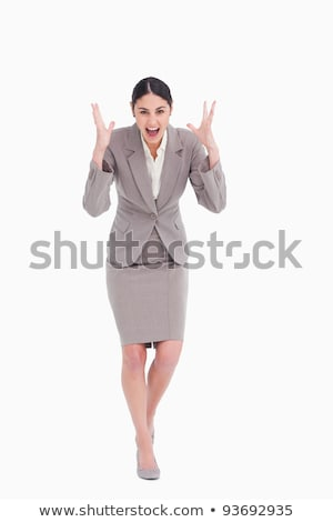 Angry yelling businesswoman against a white background stock photo © wavebreak_media