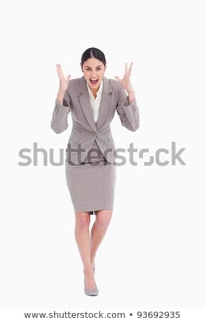 Colère femme d'affaires blanche travaux costume Photo stock © wavebreak_media