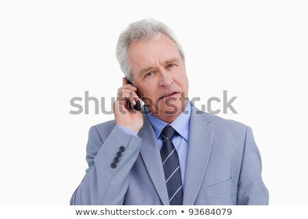 érett · kereskedő · mobiltelefon · fehér · üzlet · technológia - stock fotó © wavebreak_media