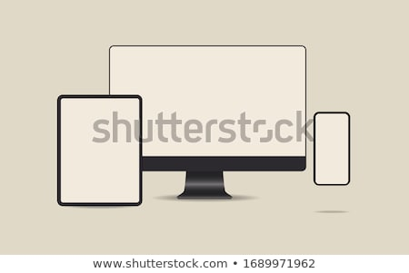 Vector technology styled illustration with shiny pda device and pointer set. EPS 10. Stock photo © articular