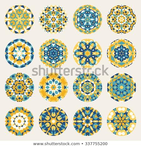 Foto stock: Vintage · azul · amarelo · caleidoscópio · abstrato