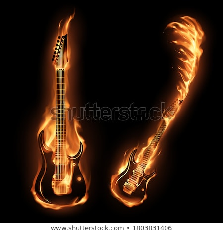 flaming · Rock · guitare · brûlant · noir · feu - photo stock © kentoh