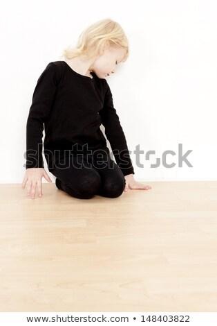 Térdel kislány visel fekete ruházat lány Stock fotó © phbcz
