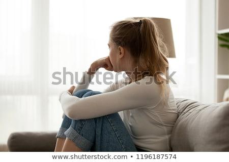 Foto stock: Mulher · triste · menina · jovem · dor · feminino