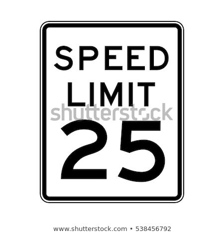 Jelzőtábla sebességhatár út aszfalt rendetlen világ Stock fotó © idesign