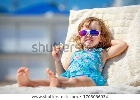kettő · imádnivaló · gyerekek · napozás · tengerpart · társalgó - stock fotó © Len44ik