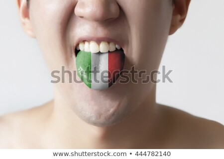 man tongue painted in italy flag symbolizing to knowledge to spe Stock photo © vepar5
