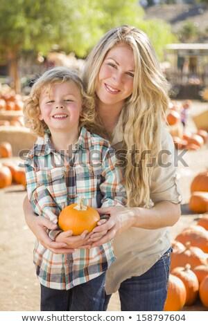 Stock fotó: Vonzó · családi · portré · sütőtök · folt · rusztikus · ranch