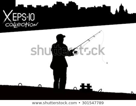 Dock in silhouette with people and rays of light Stock photo © aetb