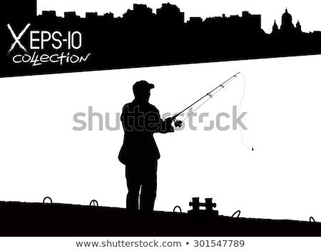 Dokk sziluett emberek sugarak fény felismerhetetlen emberek Stock fotó © aetb