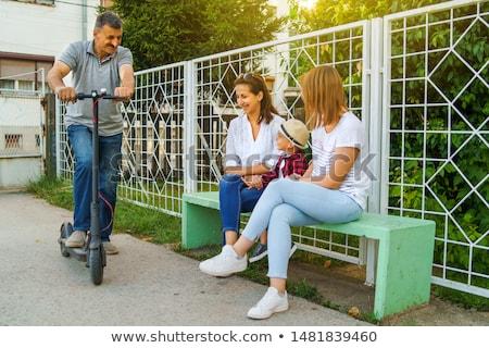 gyermek · moped · felhők · boldog · sport · fitnessz - stock fotó © meinzahn
