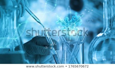 Foto stock: átomo · moléculas · modelo · laboratório · artigos · de · vidro · água