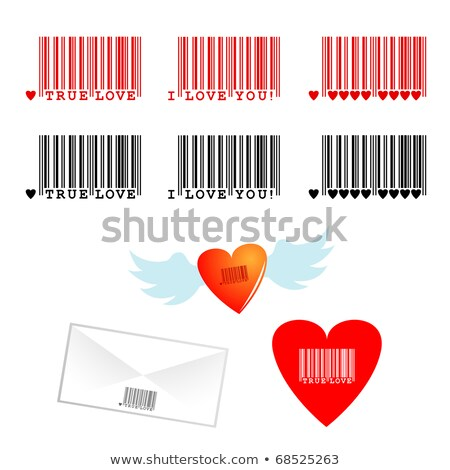 Corazón rojo San Valentín código de barras negocios Foto stock © shawlinmohd