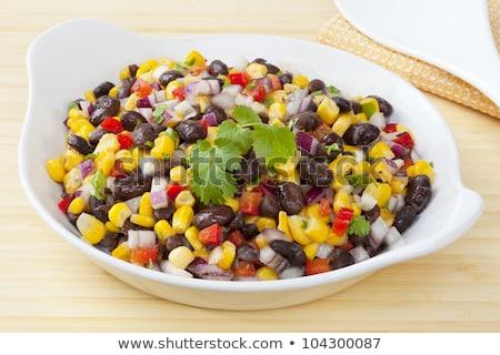 feijão · milho · salada · pimenta · três · delicioso - foto stock © m-studio