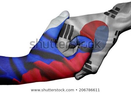 El sıkışma Rusya Güney Kore el toplantı dünya Stok fotoğraf © Zerbor