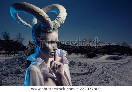Female with goat body-art Stock photo © amok
