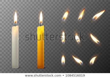 samotny · Świeca · ciemne · drewniany · stół · ognia · czarny - zdjęcia stock © koufax73