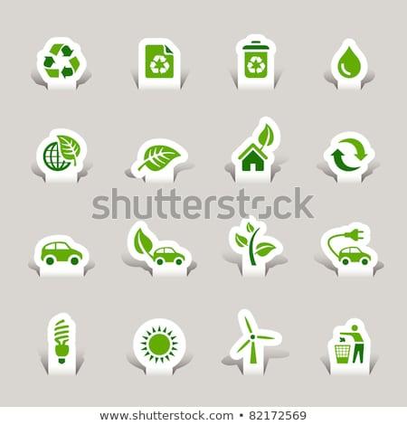 Beschermd teken groene vector icon knop Stockfoto © rizwanali3d
