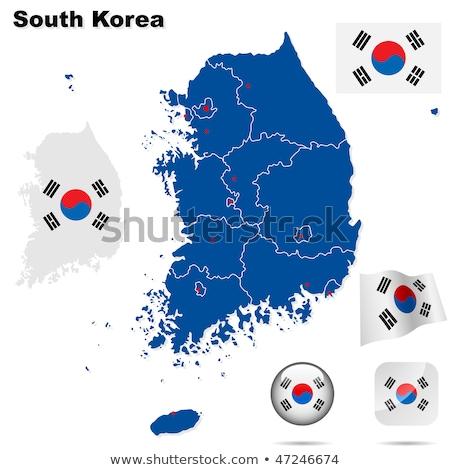 Map on flag button of Republic of Korea, South Korea Stock photo © Istanbul2009