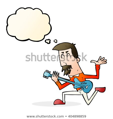 cartoon man playing electric guitar with thought bubble stock photo © lineartestpilot