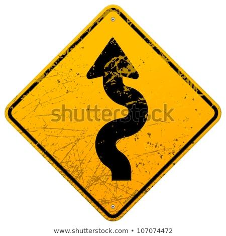 Aging on Warning Road Sign. Stock photo © tashatuvango