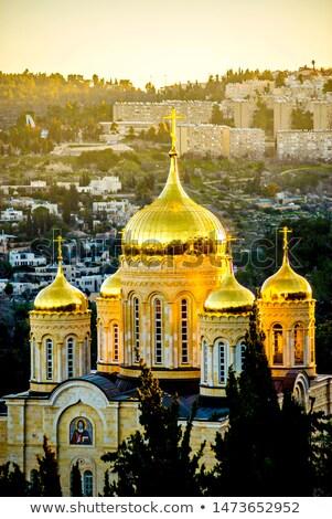 Paisagem ortodoxo mosteiro floresta bancos rio Foto stock © OleksandrO