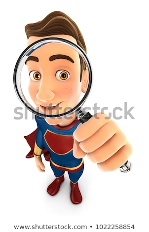 3d superhero  examine magnifying glass with magnifying glass concept Stock photo © nithin_abraham