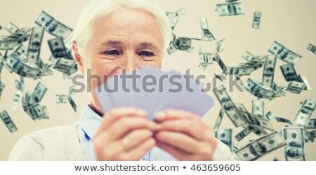 Stok fotoğraf: Mutlu · kıdemli · kadın · iskambil · kartları · yaş