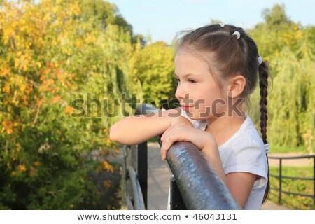 Little girl cotovelo ponte cerca olhando para a frente Foto stock © Paha_L