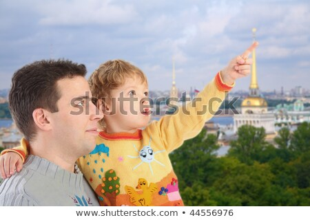 father with son on historic centre of St.Petersburg background c Stock photo © Paha_L