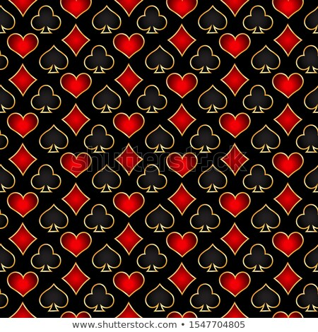 Golden seamless pattern with poker card black and red symbols Stock photo © liliwhite