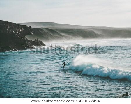 pôr · do · sol · canárias · natureza · montanha · oceano · vermelho - foto stock © lunamarina