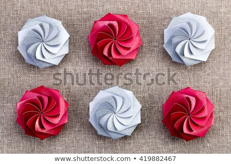 six colorful red and silver christmas gift boxes stock photo © ozgur