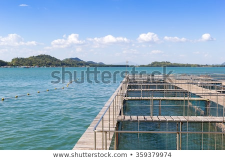 The coop for feeding fish in east of Thailand sea. Stock photo © art9858