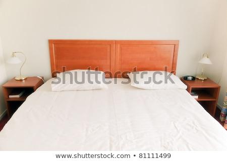 赤 枕 ベッド 白 ベッド シート ストックフォト © FrameAngel
