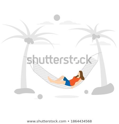 Frau Kokosnuss trinken Sitzung Hängematte cute Stock foto © dash
