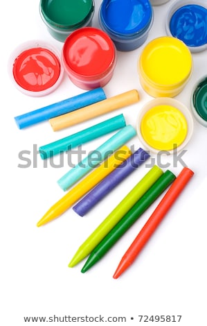 Stock photo: colorful crayons and gouache