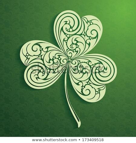 verde · afortunado · cuatro · hoja · trébol · símbolo - foto stock © pathakdesigner